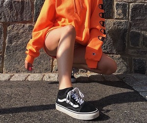 vans, champion sweater, and aesthetic outfit image