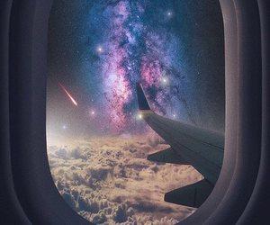 sky, plane, and galaxy image
