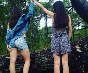 forest, happiness, and sisters image