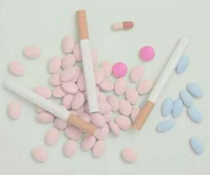 pills, cigarette, and pale image
