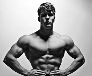 abs, arms, and black and white image