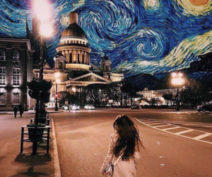 art, van gogh, and night image
