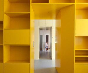 design, interior, and shelving image