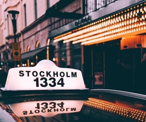 lights, stockholm, and taxi image