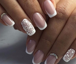 nice, white, and french nail image