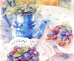 art, blueberries, and sweet image