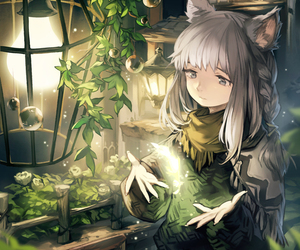 animal ears, anime girl, and art image