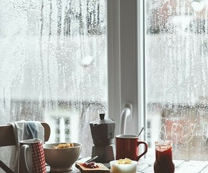 rain, breakfast, and coffee image