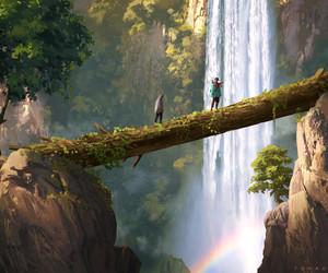 art, travel, and waterfall image