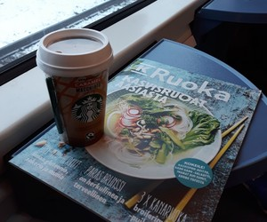 coffee, cookbook, and reading image