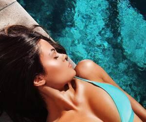 bikini, swimwear, and blue image