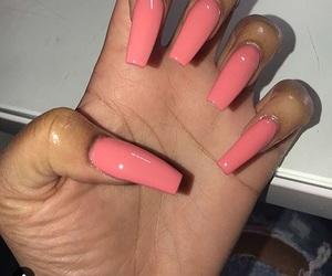 acrylic, pink, and cute nails image