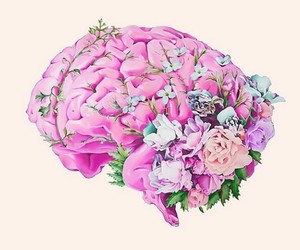 brain, flowers, and pink image