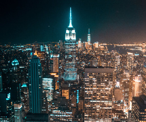 big apple, city, and city at night image