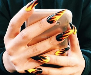 fire, nails, and black image