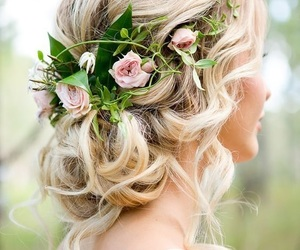 hair, wedding, and flowers image