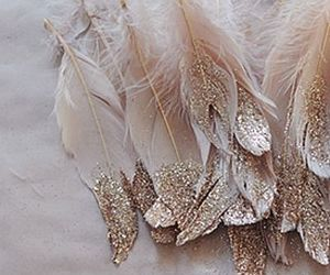 glitter, gold, and feather image