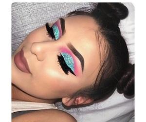 blue, lips, and eyelashes image