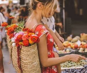 flowers, girl, and market image