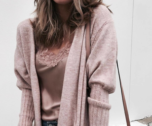 cardigan, fashion, and Nude image
