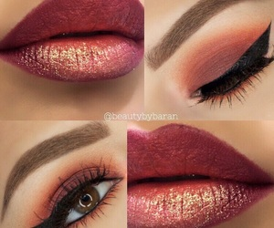 beautiful, brown eyes, and makeup image