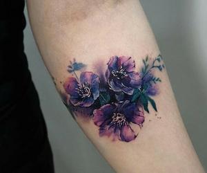 flowers, purple, and tattoo image