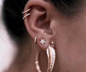 earrings, style, and gold image