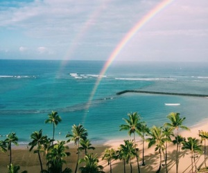 rainbow, beach, and sky image