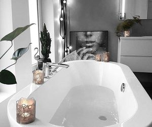 interior, bathtub, and flowers image