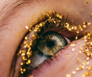 eyes, gold, and aesthetic image