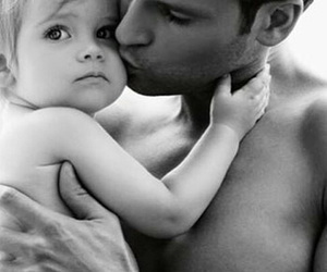 baby, kiss, and black and white image
