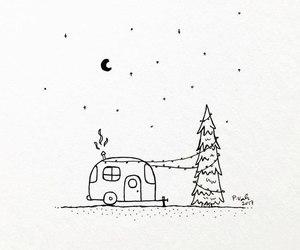 art, black&white, and christmas tree image