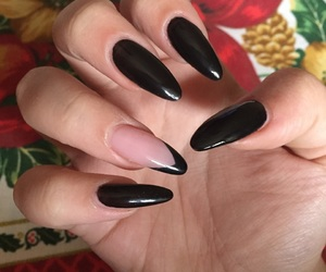 black, nails, and polish image