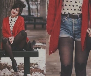 black boots, blouse, and brunette image