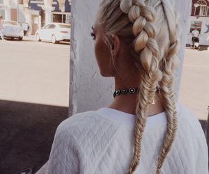 beautiful, braided hair, and long hair image