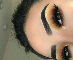 contour, make up, and eyelashes image