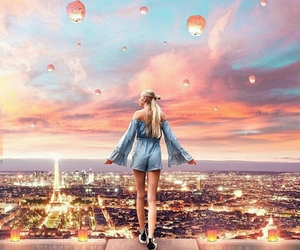 girl, lights, and paris image