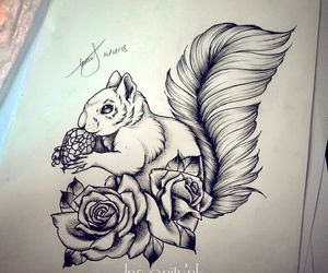 squirrel, blacktattoos, and Tattoos image