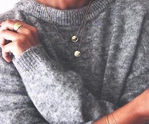 fashion, jewelry, and sweater image