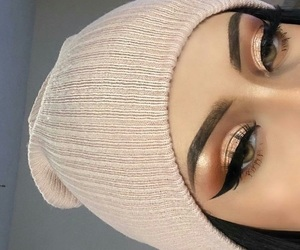 makeup, eyebrows, and eyes image