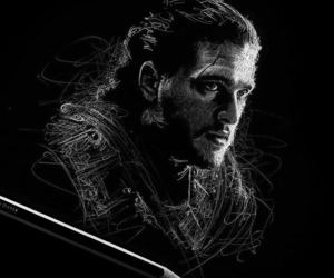 black and white, game of thrones, and jon snow image