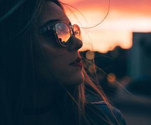 girl, sunset, and warm image