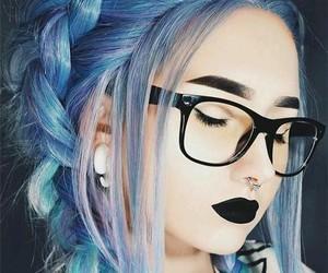 colorful hair, bue hair, and hair image
