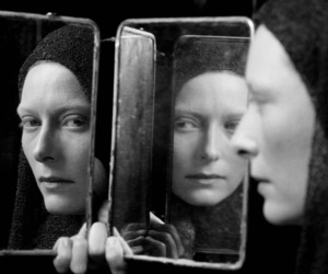 black and white, Tilda Swinton, and mirror image