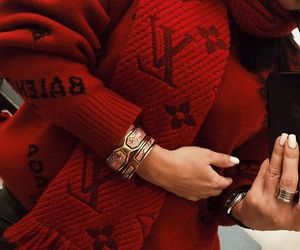 red, nails, and jewelry image