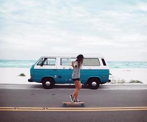 beach, skateboarding, and board image
