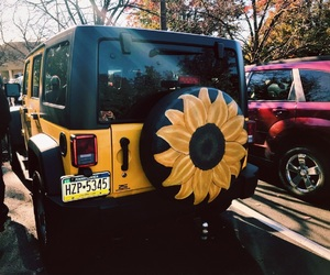 sunflower, jeep, and yellow image