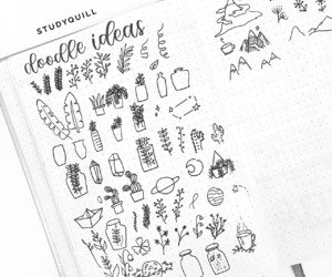 bw, doodles, and journal image