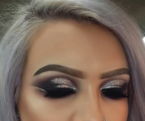 glitter, silver, and makeup image