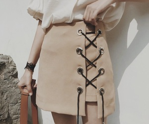 fashion, skirt, and beige image